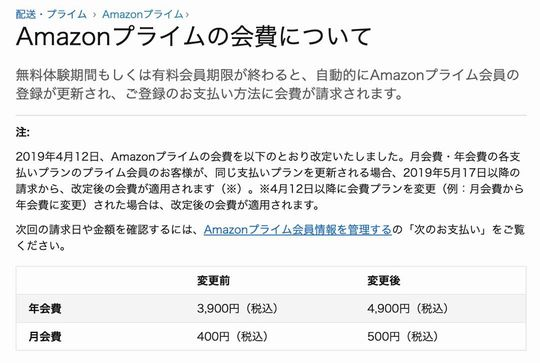 Amazonプライム会員費